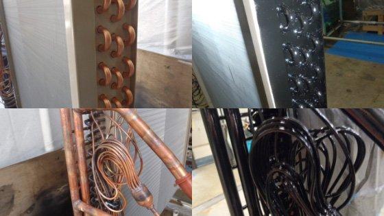 室内機のUベンド側と分流器側の銅管部コーティング